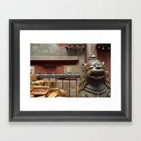 Fu And Nepal Bricks Framed Art Print