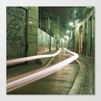 Barcelona, Spain night streets. Canvas Print