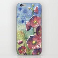 Hollyhocks - Pink Flowers iPhone & iPod Skin