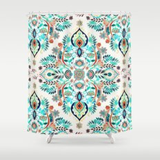 Modern Folk in Jewel Colors Shower Curtain