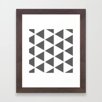 Sleyer Dark Grey on White Pattern Framed Art Print