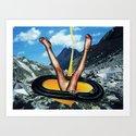 Golden Power   Collage Art Print