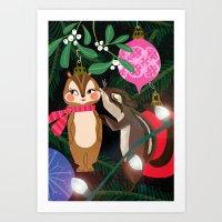 Chipmunk Kisses Holiday … Art Print