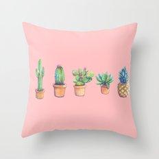evolution cactus to pineapple pink version Throw Pillow