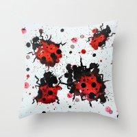 Splattered Bugs Throw Pillow