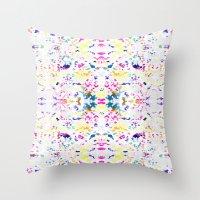 Paint Splatter - White Throw Pillow