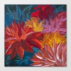 Fiery Dahlia Blossoms Canvas Print