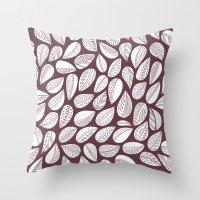Deep Purple Leaf Throw Pillow