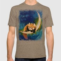 Red Panda Moon Mens Fitted Tee Tri-Coffee SMALL