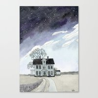 House Under The Starry S… Canvas Print