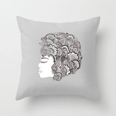 Her Hair Throw Pillow