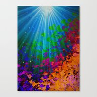 UNDER THE SEA Bold Colorful Abstract Acrylic Painting Mermaid Ocean Waves Splash Water Rainbow Ombre Canvas Print