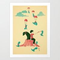 Tiny T-Rex Invasion Art Print