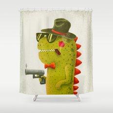 Dino bandito (olive) Shower Curtain