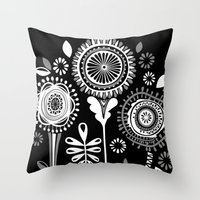 Folksy Flowerheads Rever… Throw Pillow