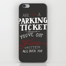 parking ticket red on  grey iPhone & iPod Skin