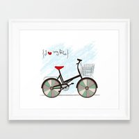 I {❤} My Bike Framed Art Print