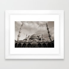 Blue Mosque in Grey Framed Art Print