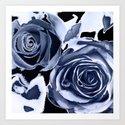 Snowy roses. Art Print