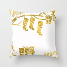 Gold Christmas 02 Throw Pillow