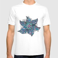 Line Floral Mens Fitted Tee White SMALL