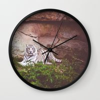 White Bengal Tiger Wall Clock