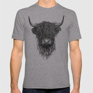 Highland Cattle Mens Fitted Tee Athletic Grey LARGE