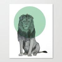Sitting Lion Canvas Print