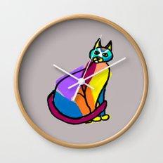 Colorful Cat Hero Wall Clock