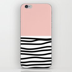 Black and White Waves with Pink Block iPhone & iPod Skin