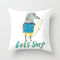 Surfer, Surfing, Surfboa… Throw Pillow