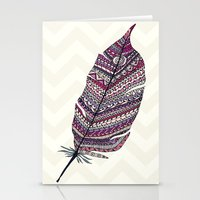 feather Stationery Cards featuring FEATHER by Monika Strigel