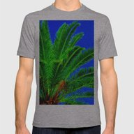 Palm Tree Mens Fitted Tee Athletic Grey SMALL