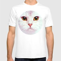 Geometric White Cat Mens Fitted Tee White SMALL