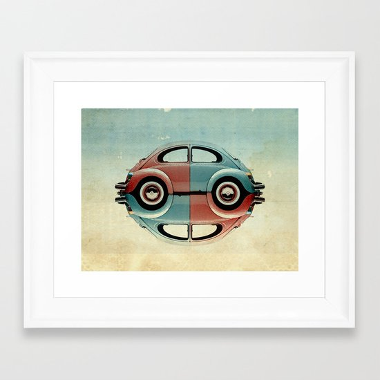 checkered 4 speed - VW beetle  Framed Art Print