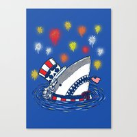 The Patriotic Shark Canvas Print