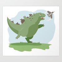 Lil' Godzilla Art Print