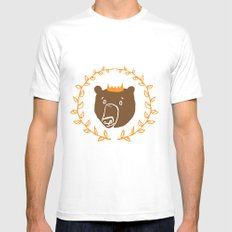 King of the Bears White SMALL Mens Fitted Tee