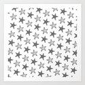 Starfish Black on White Art Print