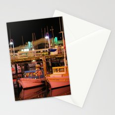 Harbor Reflection at Night Stationery Cards