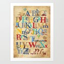 Vintage ABC / nursery wall art Art Print
