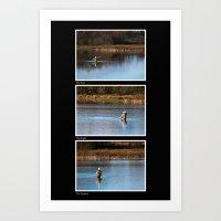 Fly Fishing Triptych Bla… Art Print