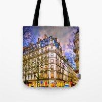Rainy evening in Paris, France Tote Bag