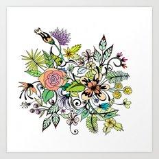 Floral White Art Print