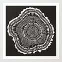 Growth Rings – 65 Years – Black Art Print