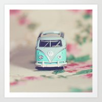 Aqua VW Bus With Roses Art Print