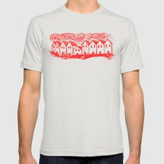 Sad Row (Red) Mens Fitted Tee Silver SMALL