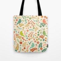 Vector Floral Pattern Tote Bag