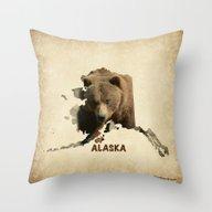 Alaskan Grizzly Map Throw Pillow