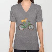 Corgi on a bike Unisex V-Neck